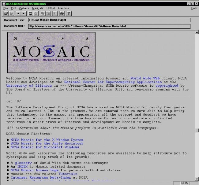 Первый веб браузер с графическим интерфейсом NCSA Mosaic